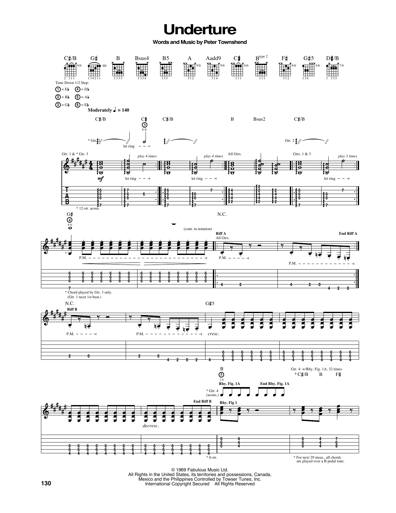 Tablature guitare Underture de The Who - Tablature Guitare