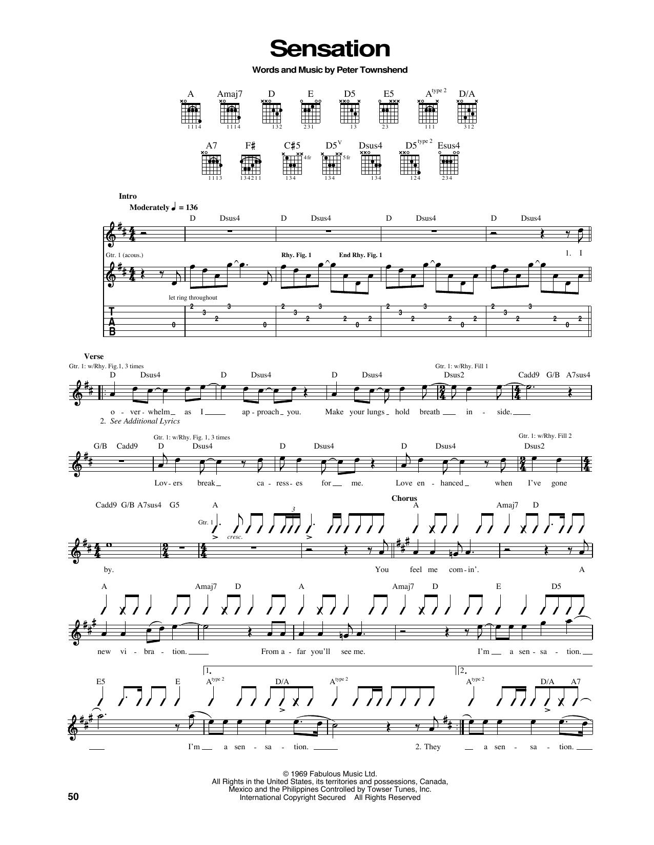 Tablature guitare Sensation de The Who - Tablature Guitare