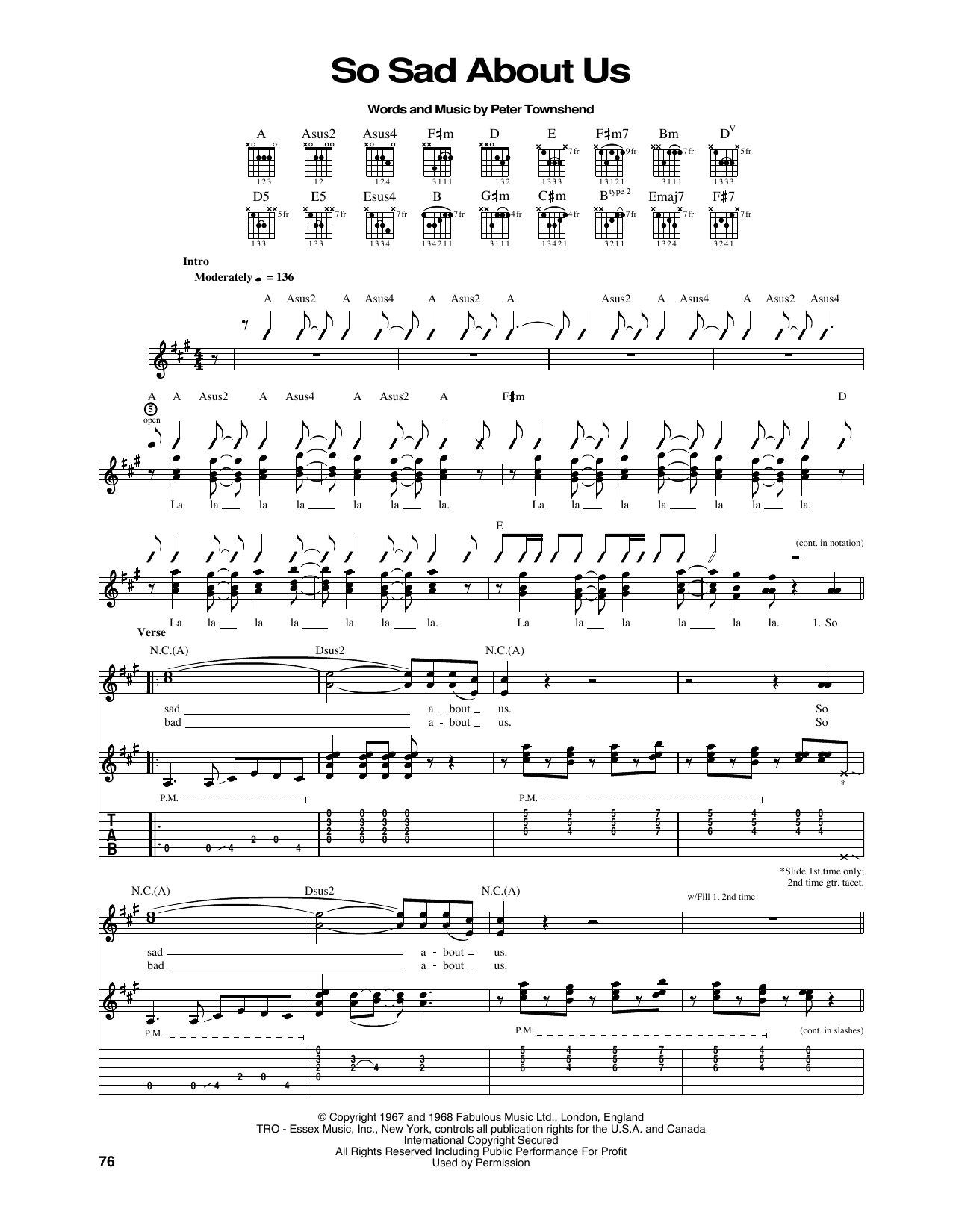 So Sad About Us Sheet Music