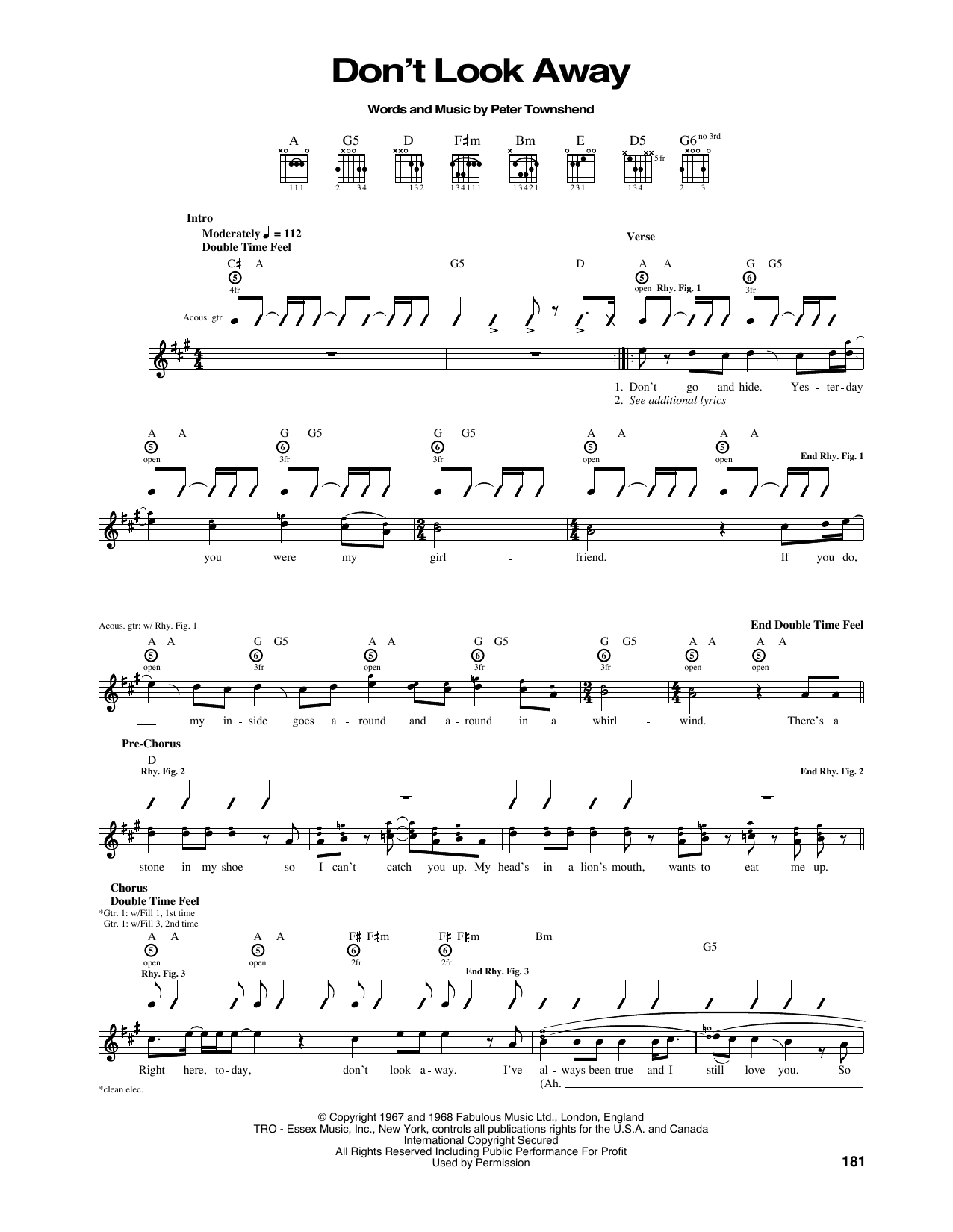 Don't Look Away Sheet Music