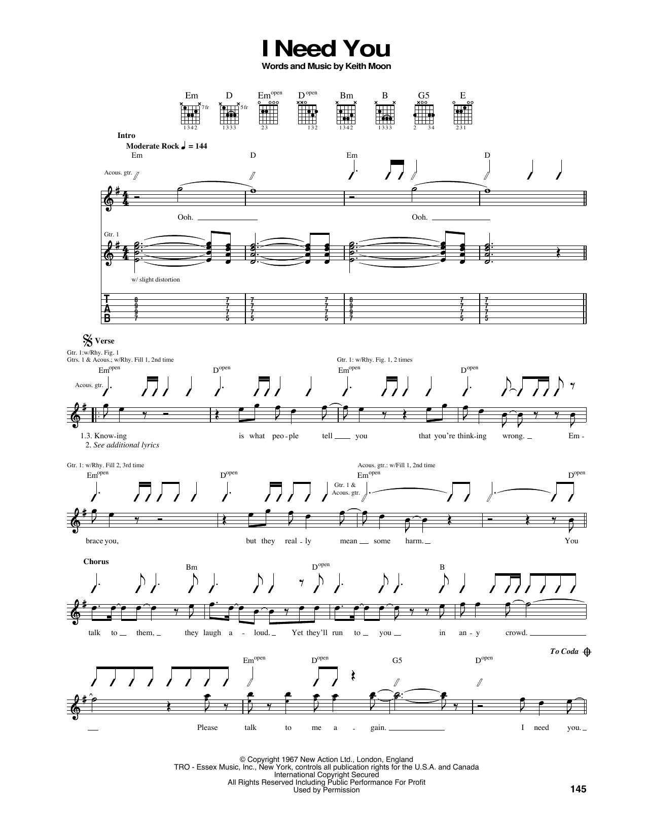 Tablature guitare I Need You de The Who - Tablature Guitare
