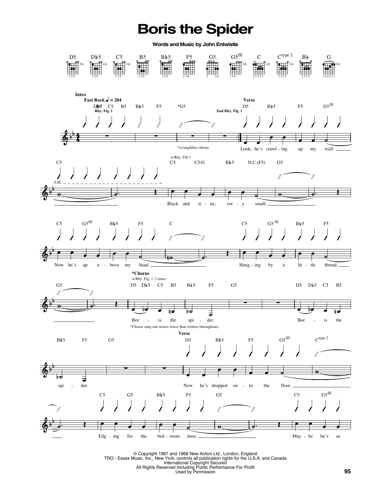 Boris The Spider Sheet Music