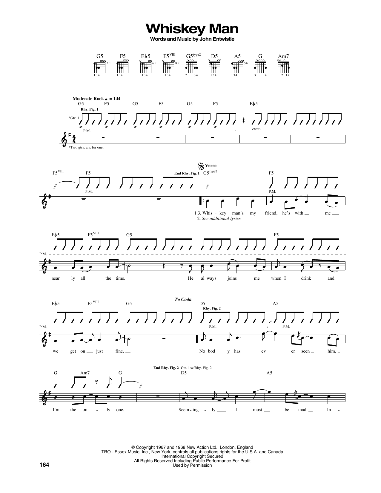 Tablature guitare Whiskey Man de The Who - Tablature Guitare