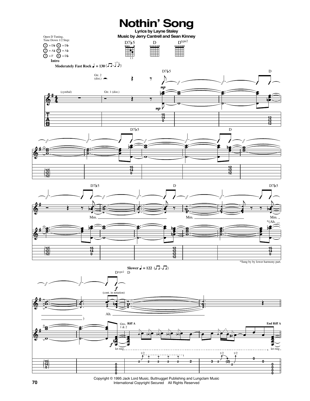 Tablature guitare Nothin' Song de Alice In Chains - Tablature Guitare