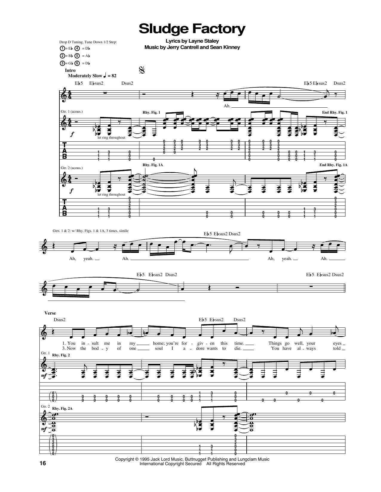 Tablature guitare Sludge Factory de Alice In Chains - Tablature Guitare