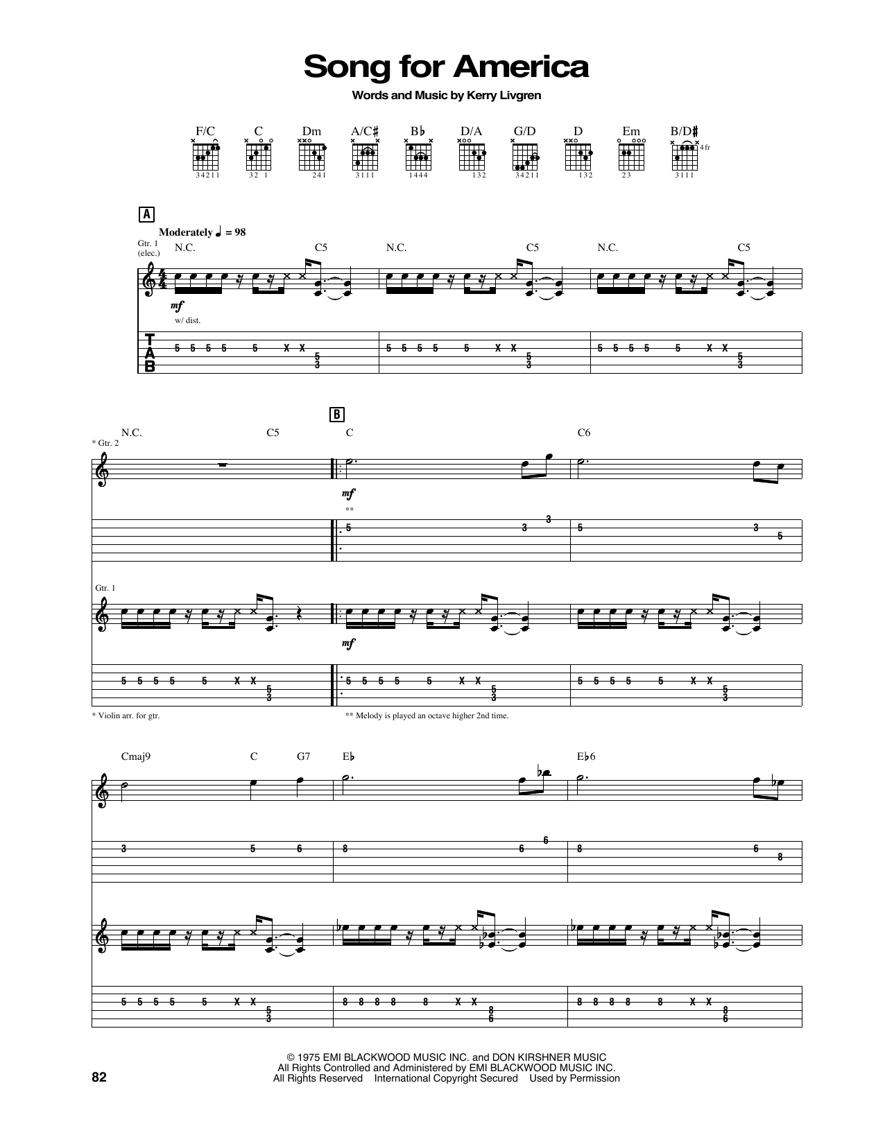 Tablature guitare Song For America de Kansas - Tablature Guitare