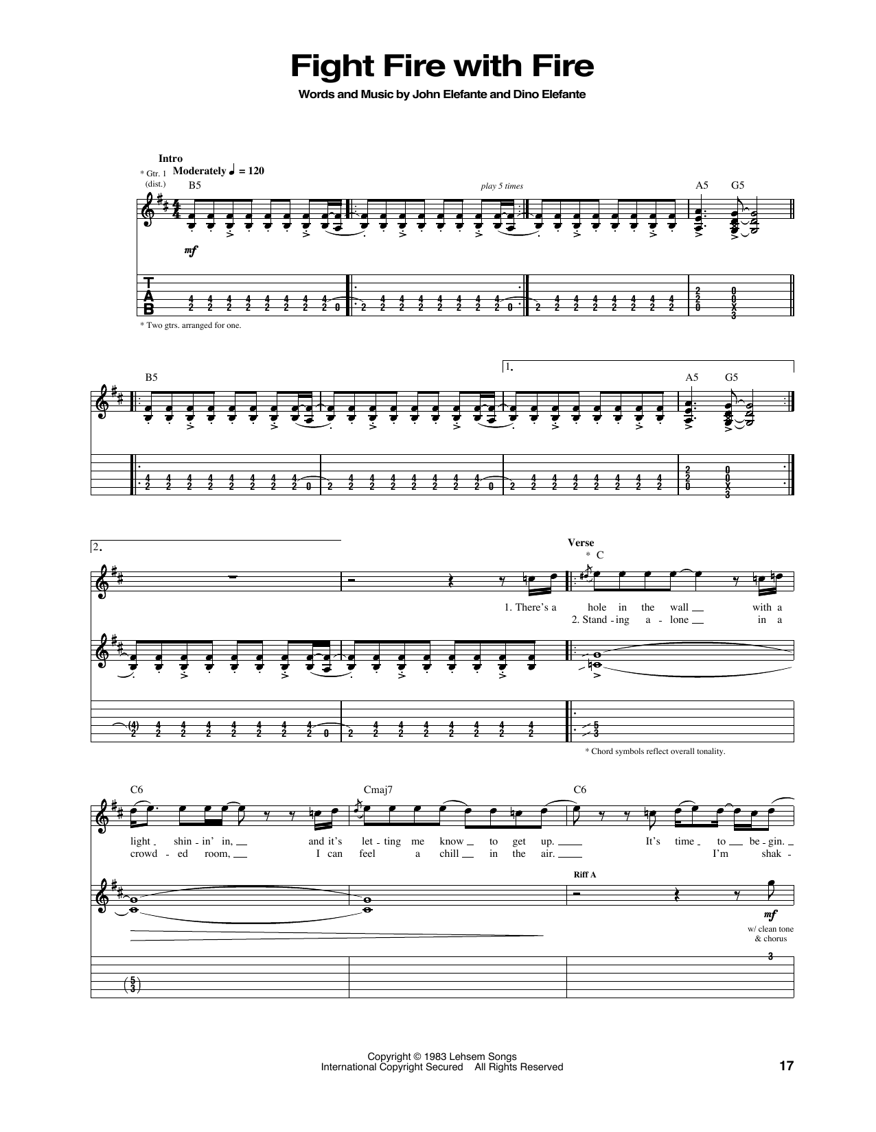 Fight Fire With Fire Guitar Tab By Kansas Guitar Tab 165490