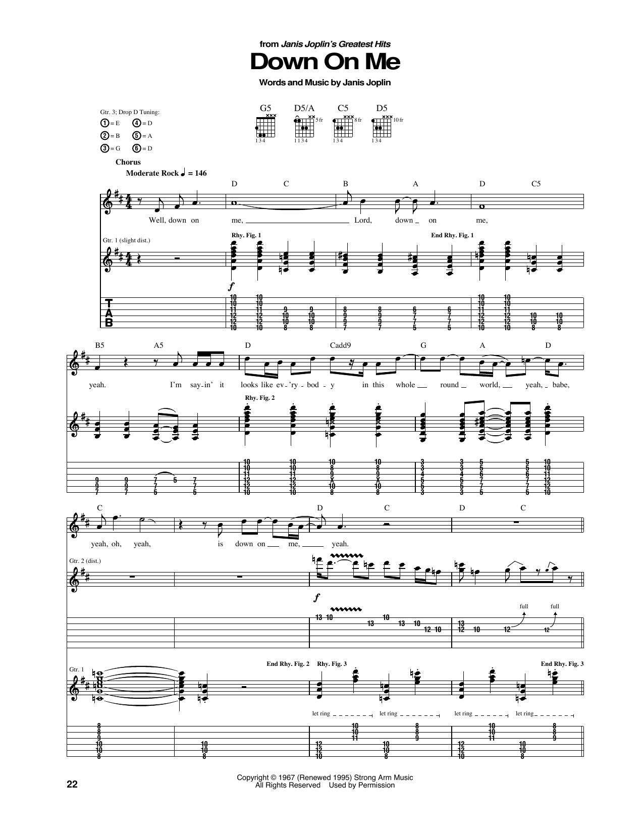 Down On Me Sheet Music