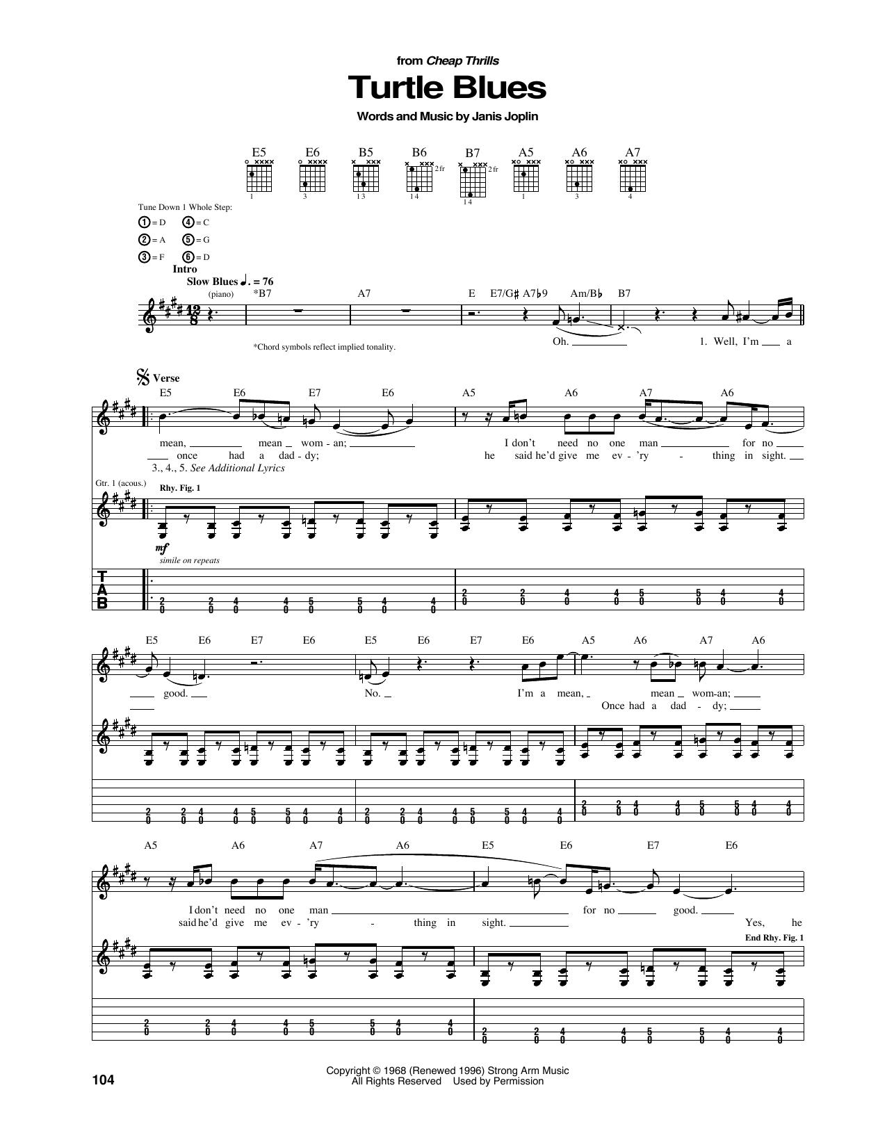Janis Joplin Turtle Blues Sheet Music