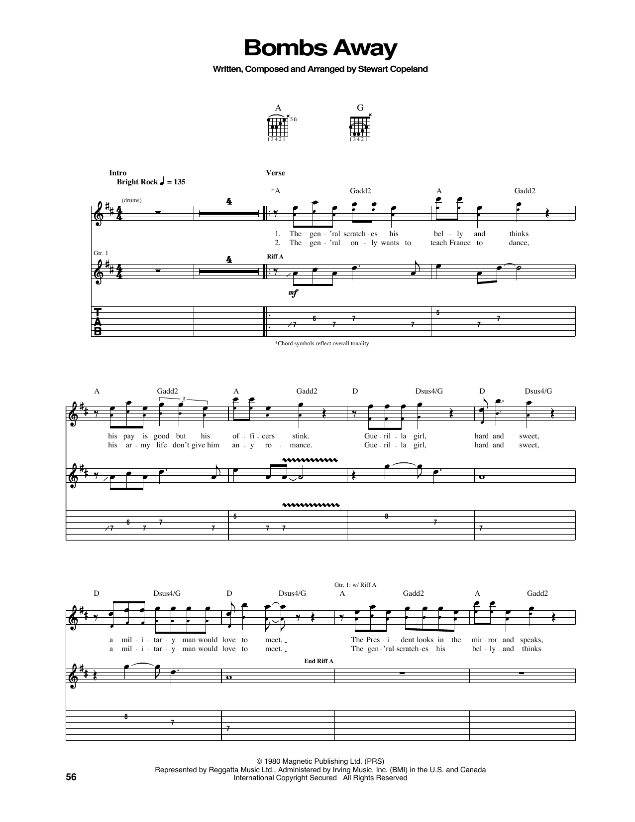 Bombs Away Guitar Tab By The Police Guitar Tab 167672