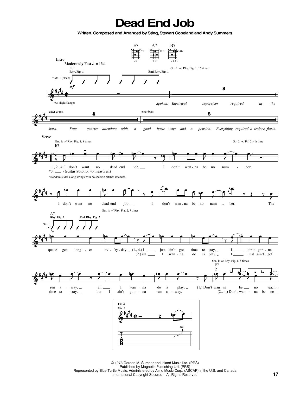 Dead End Job Sheet Music