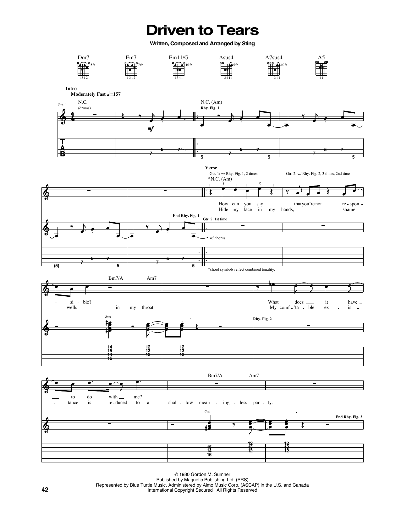Tablature guitare Driven To Tears de The Police - Tablature Guitare