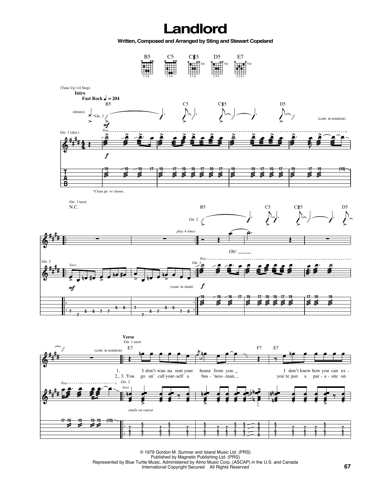 Landlord Sheet Music