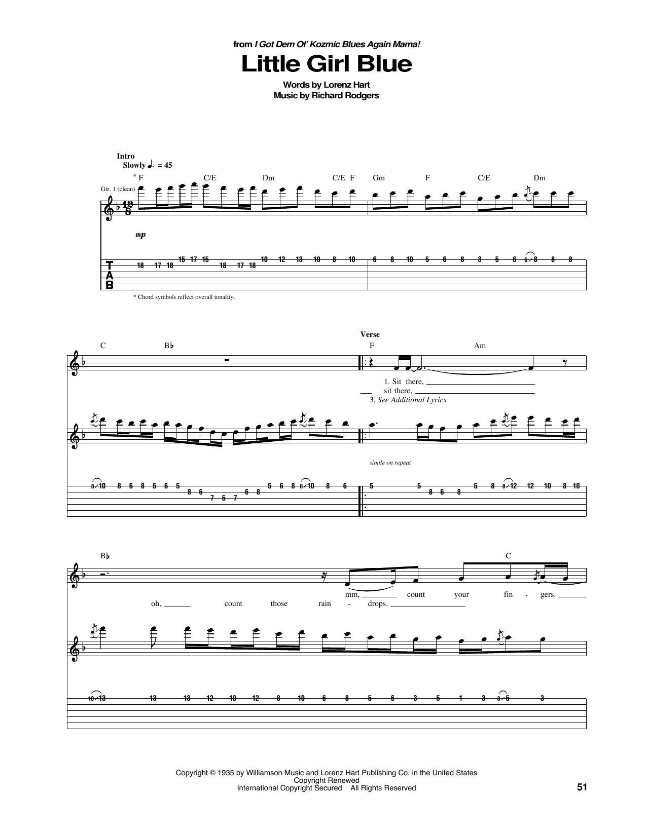 Little Girl Blue (Guitar Tab)