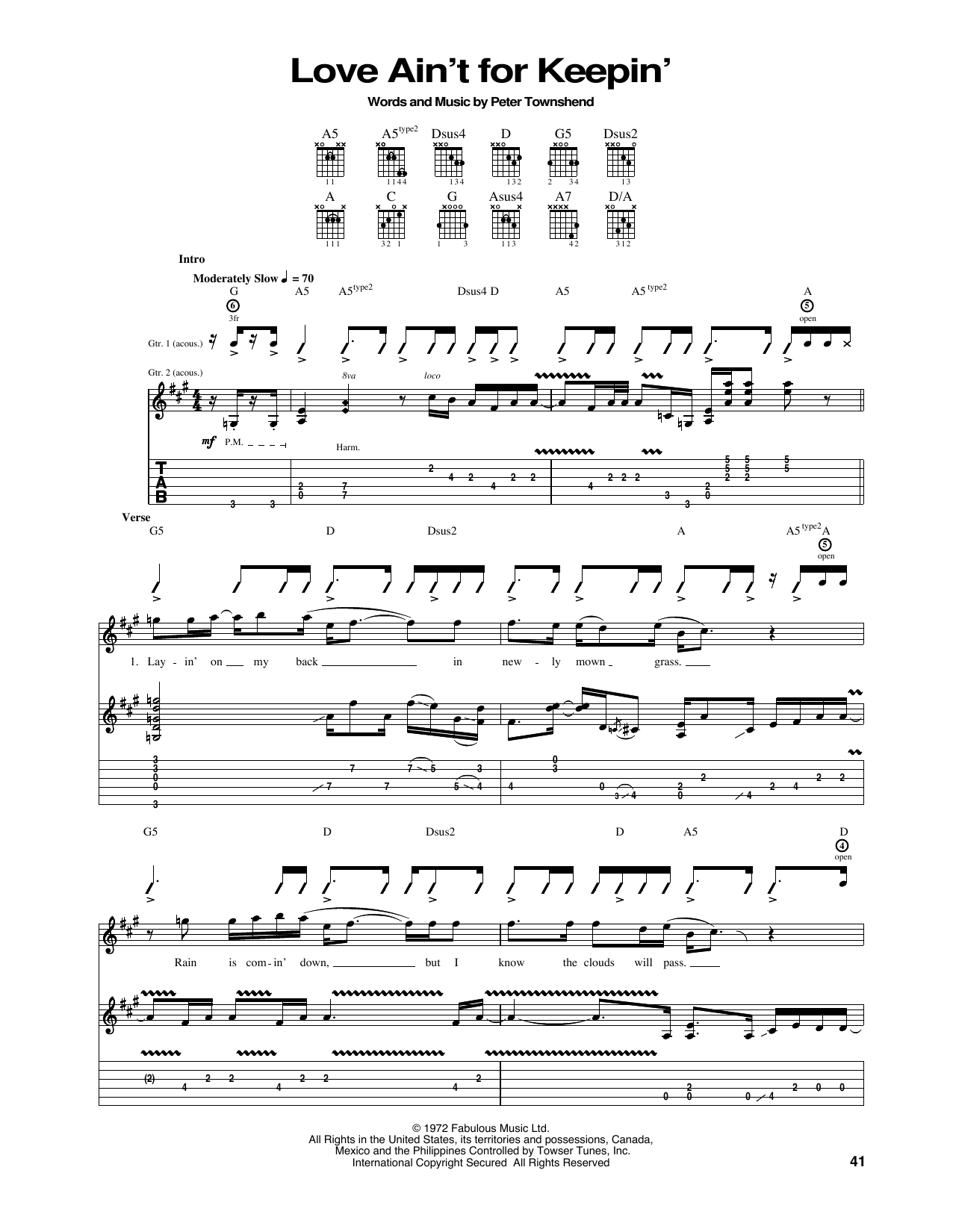 Tablature guitare Love Ain't For Keepin' de The Who - Tablature Guitare