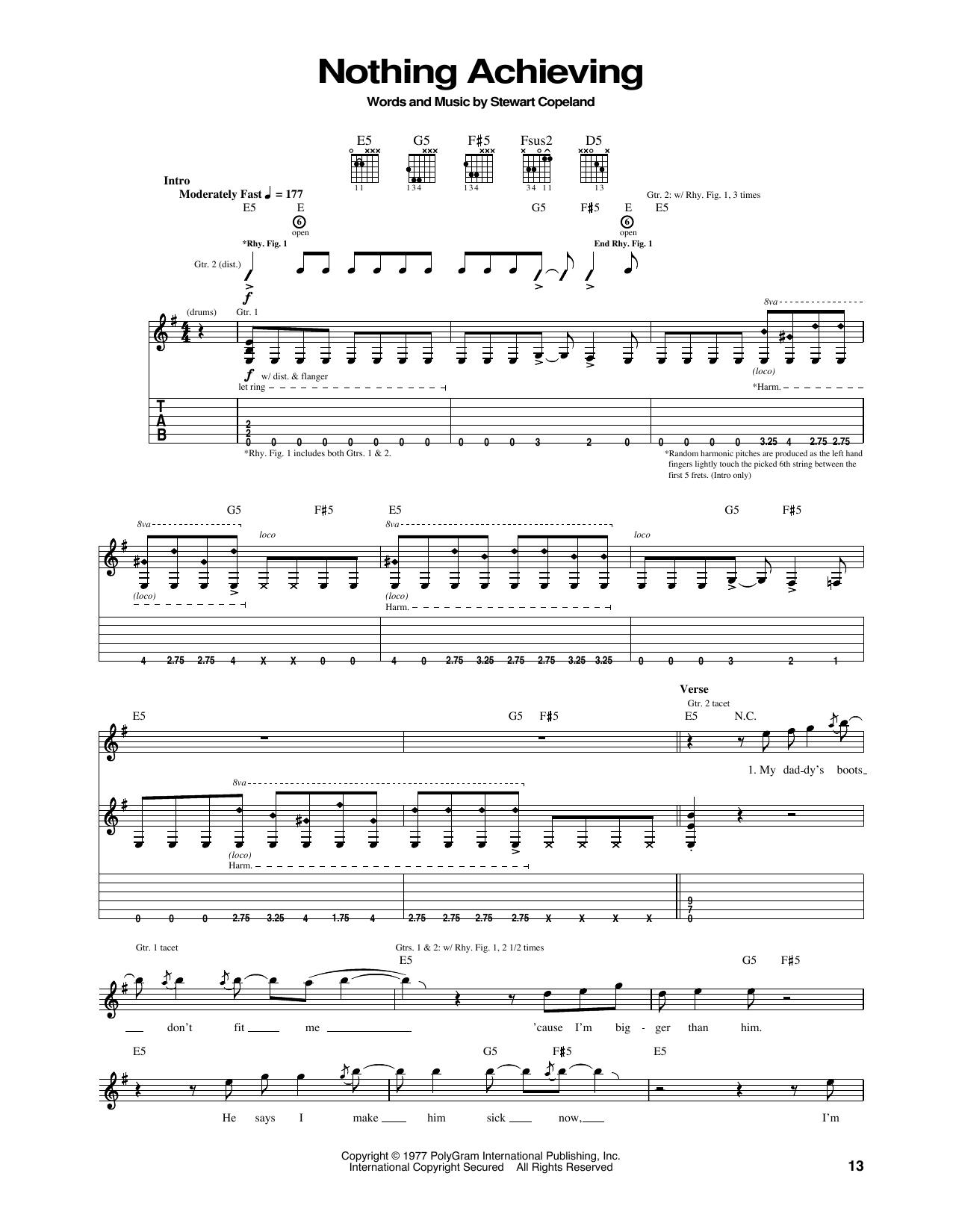 Tablature guitare Nothing Achieving de The Police - Tablature Guitare