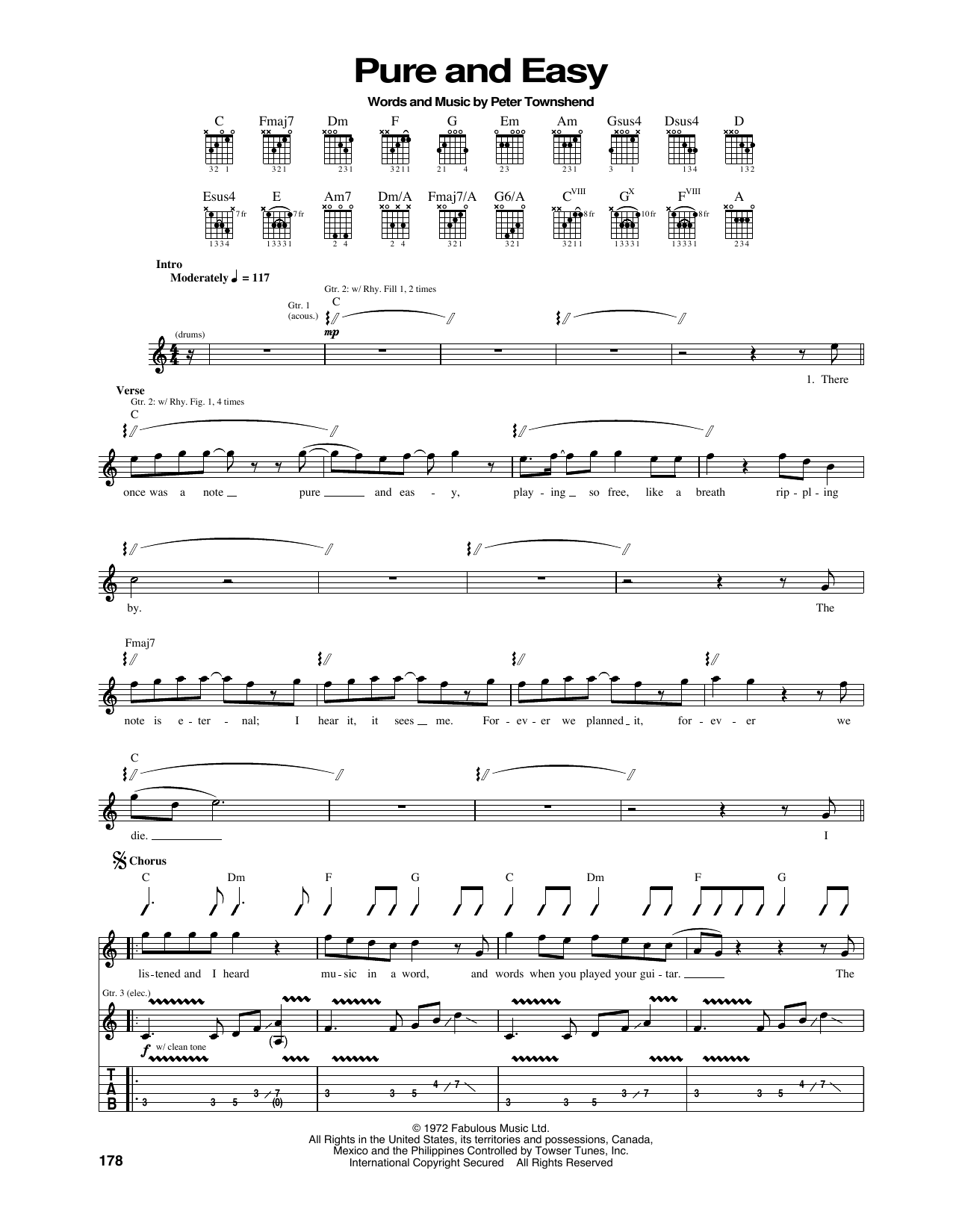 Tablature guitare Pure And Easy de The Who - Tablature Guitare