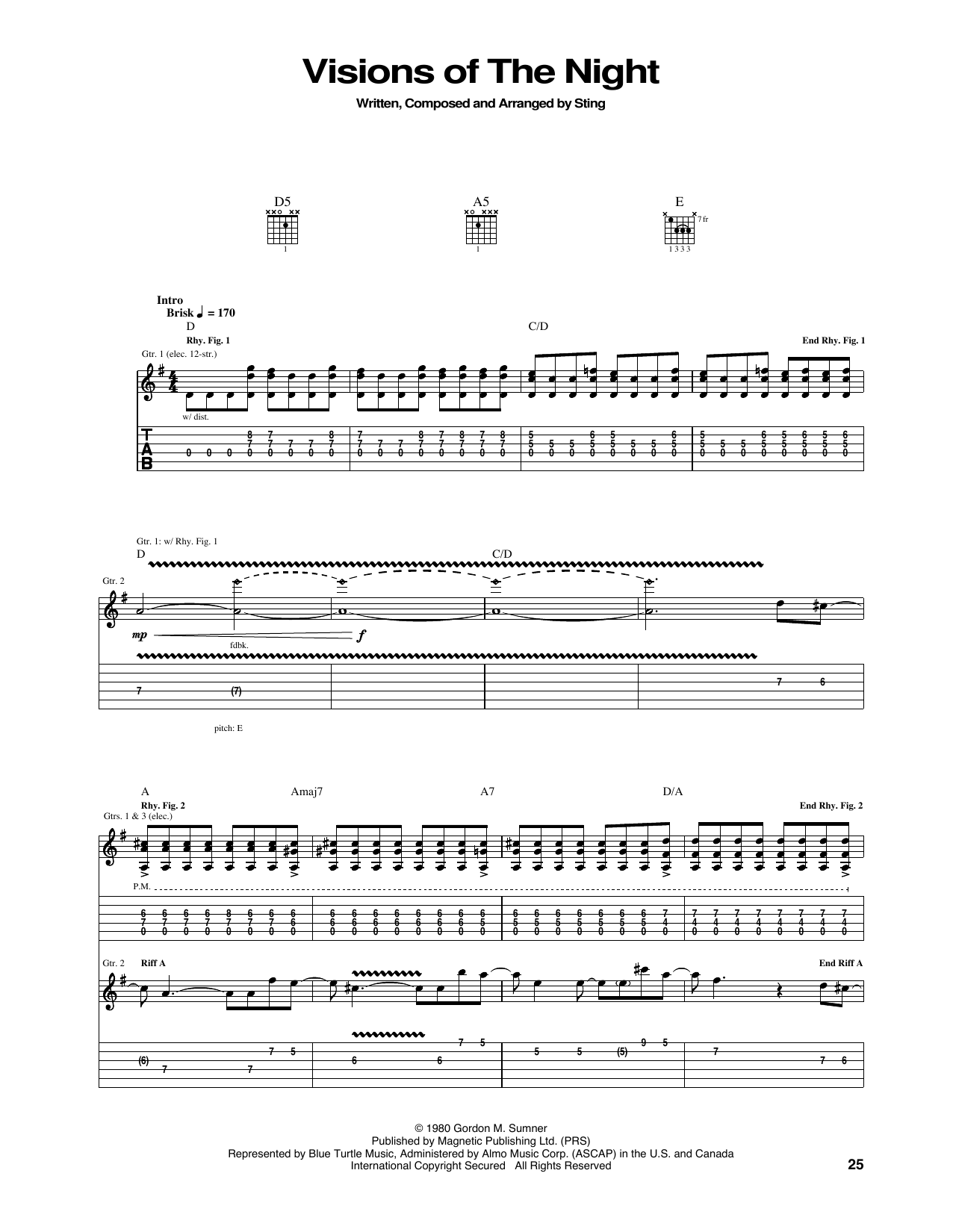 Tablature guitare Visions Of The Night de The Police - Tablature Guitare