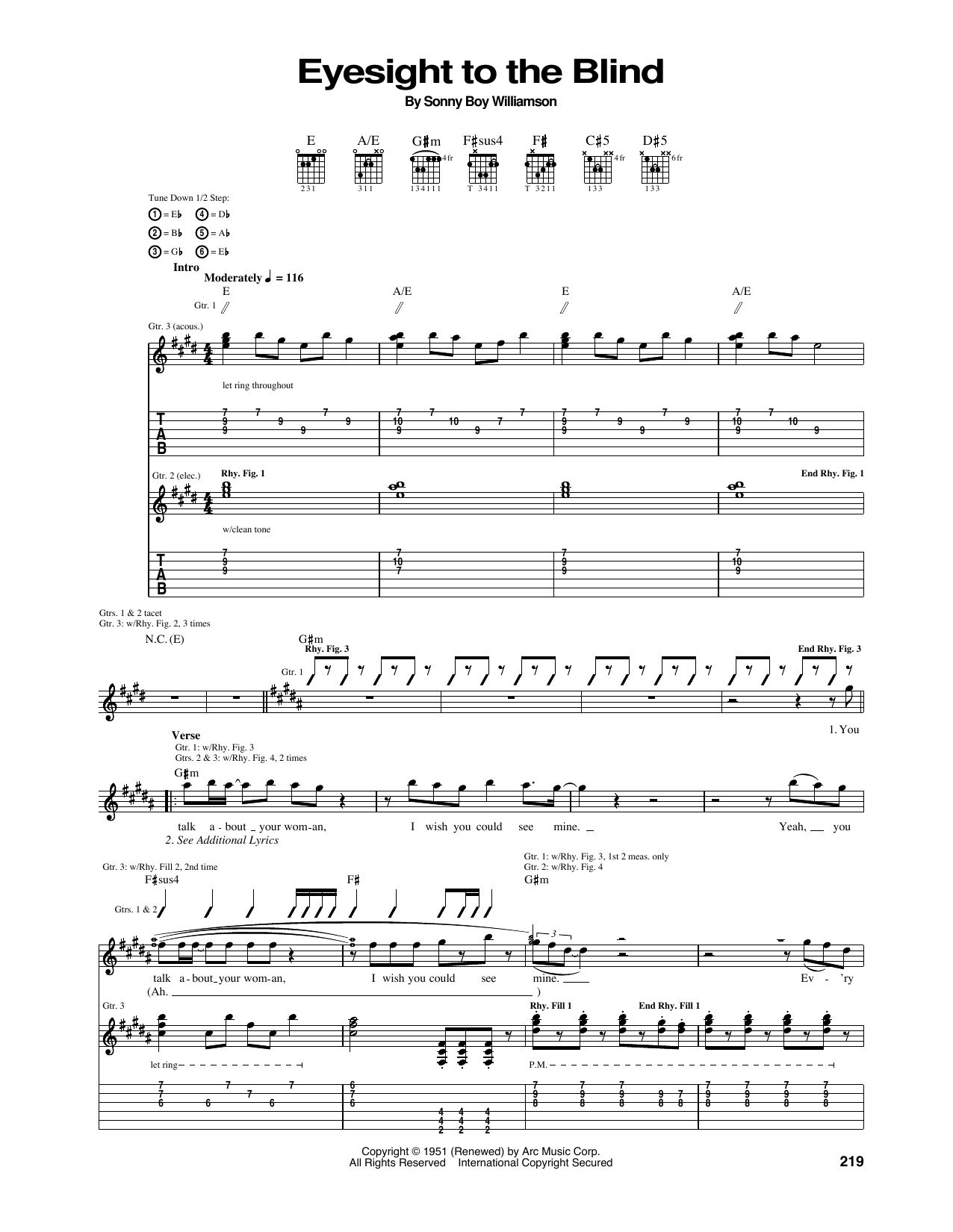 Eyesight To The Blind (Guitar Tab)
