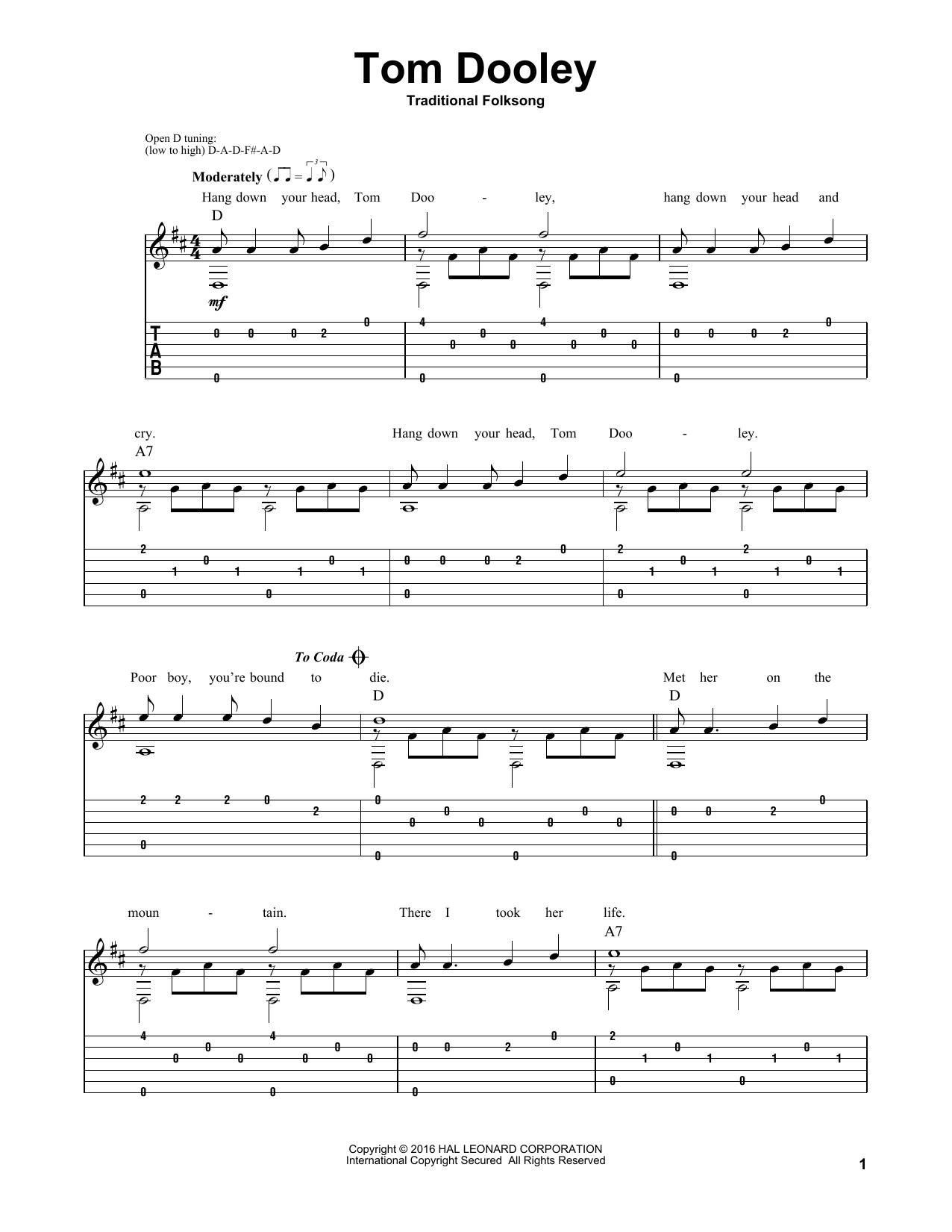 Tom Dooley Sheet Music
