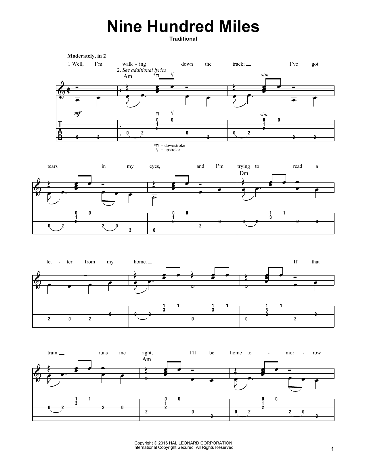 Nine Hundred Miles Sheet Music