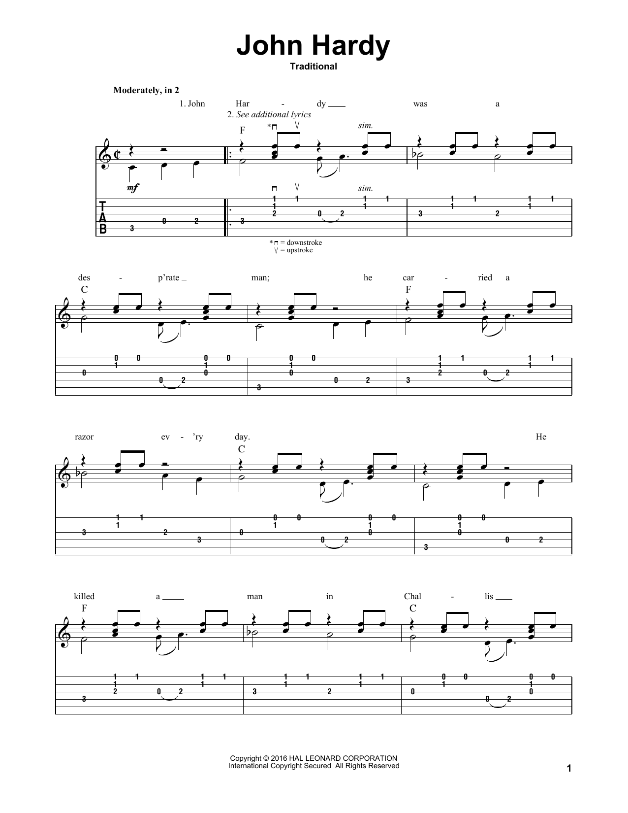 Tablature guitare John Hardy de Mark Phillips - Tablature Guitare