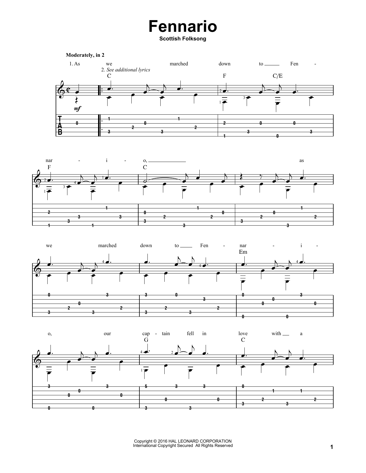 Tablature guitare Fennario de Scottish Folksong - Tablature Guitare