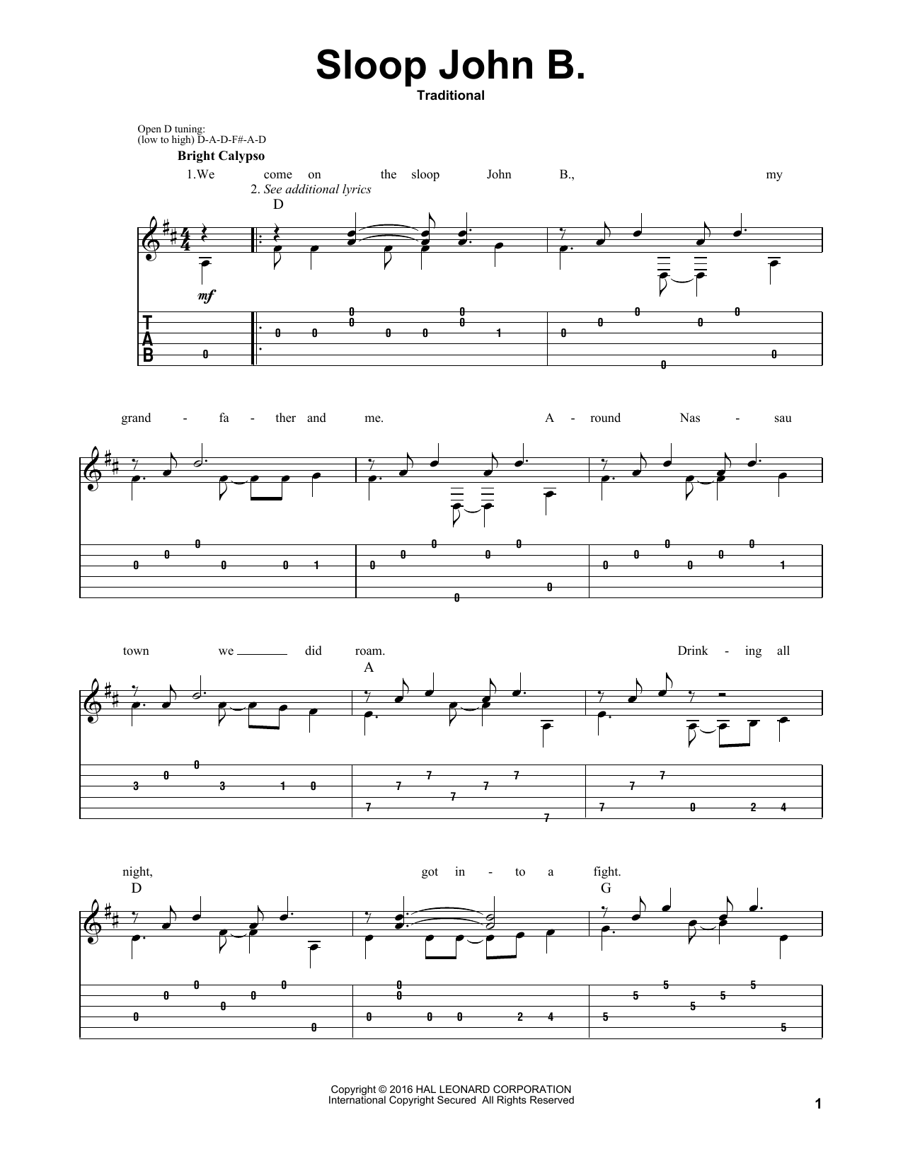 Sloop John B. Sheet Music