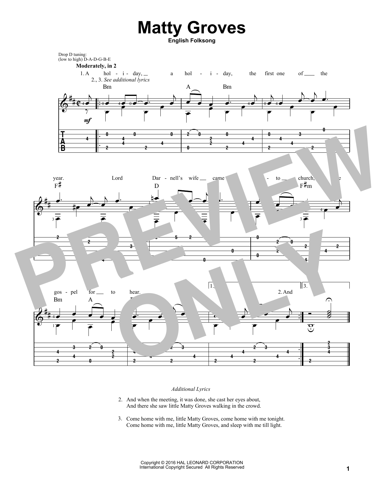 Tablature guitare Matty Groves de Traditional English Folksong - Tablature Guitare