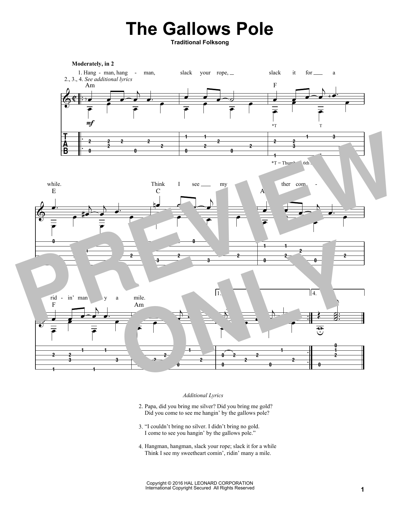The Gallows Pole Sheet Music