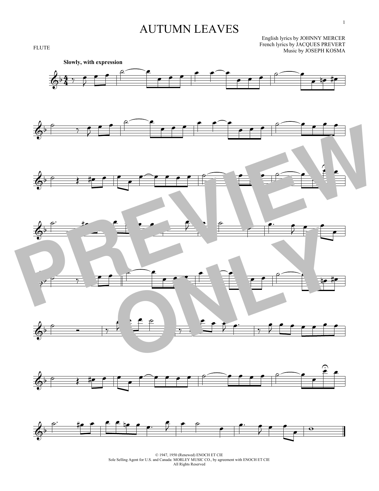 Autumn Leaves Sheet Music