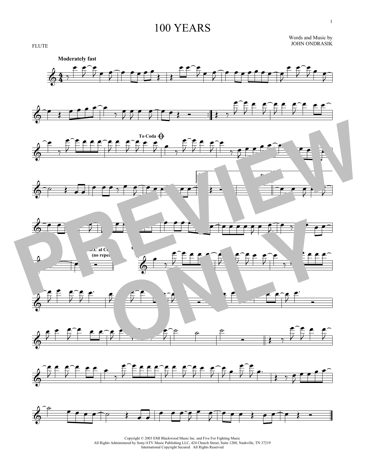 five for fighting 100 years piano sheet music pdf