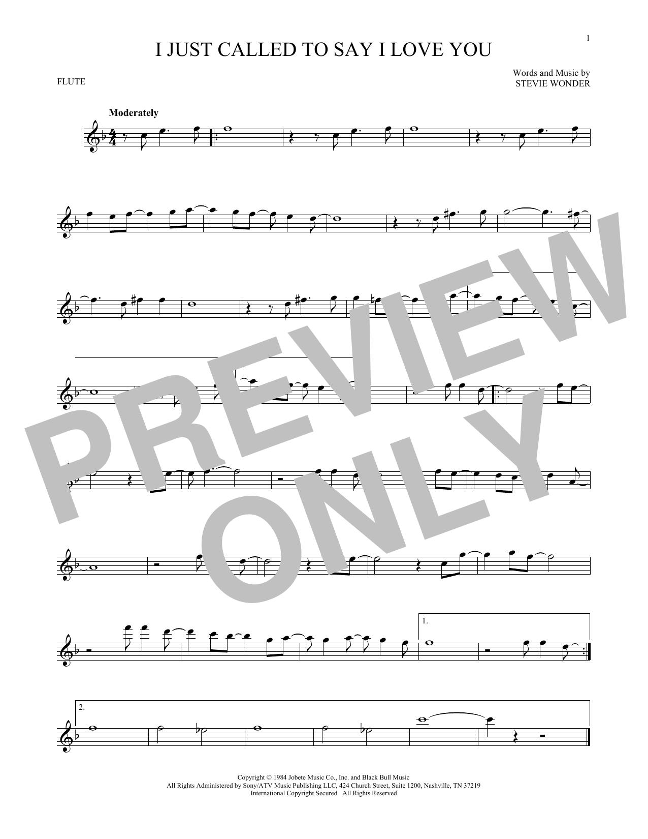 Partition flûte I Just Called To Say I Love You de Stevie Wonder - Flute traversiere