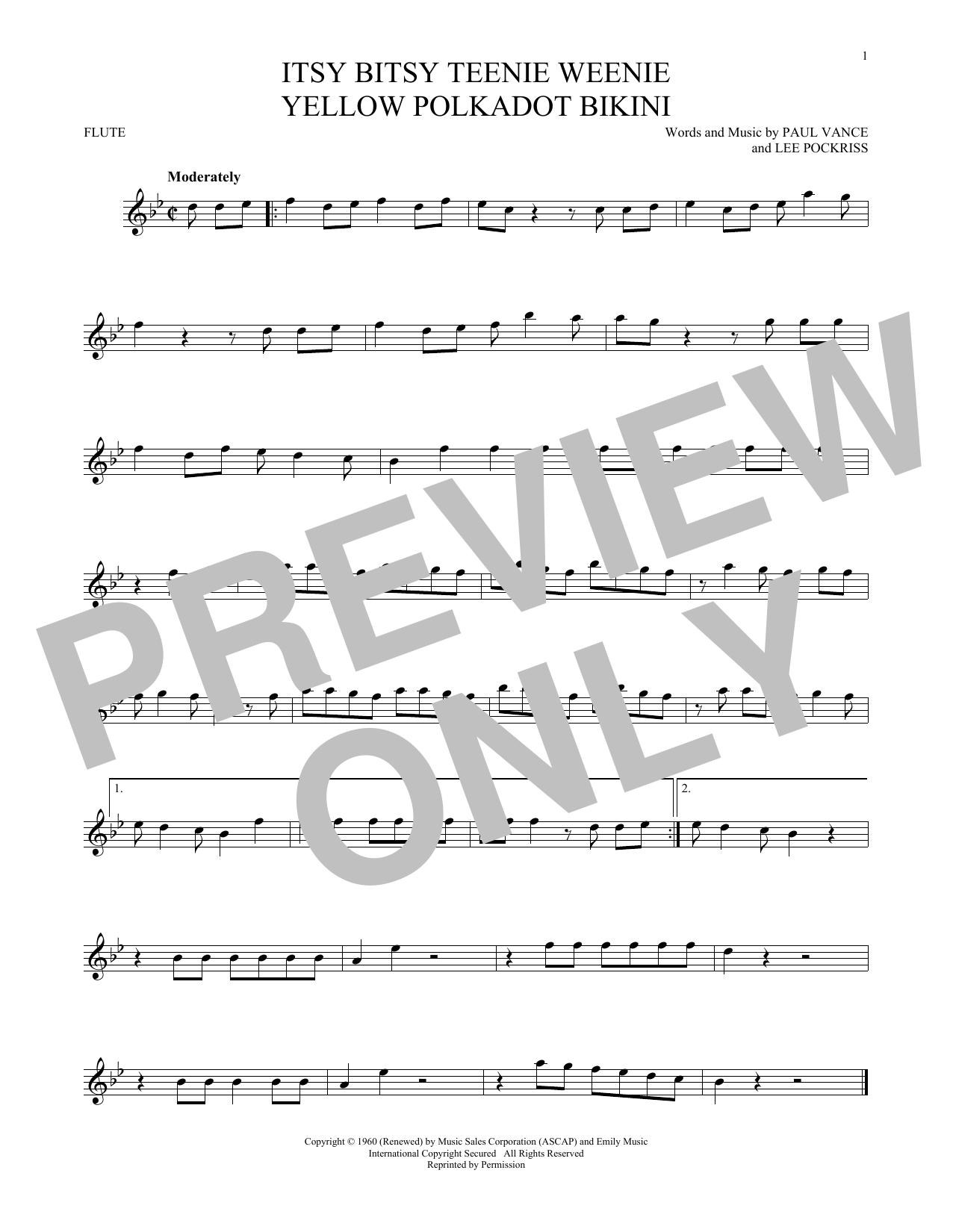 Itsy Bitsy Teenie Weenie Yellow Polkadot Bikini (Flute Solo)