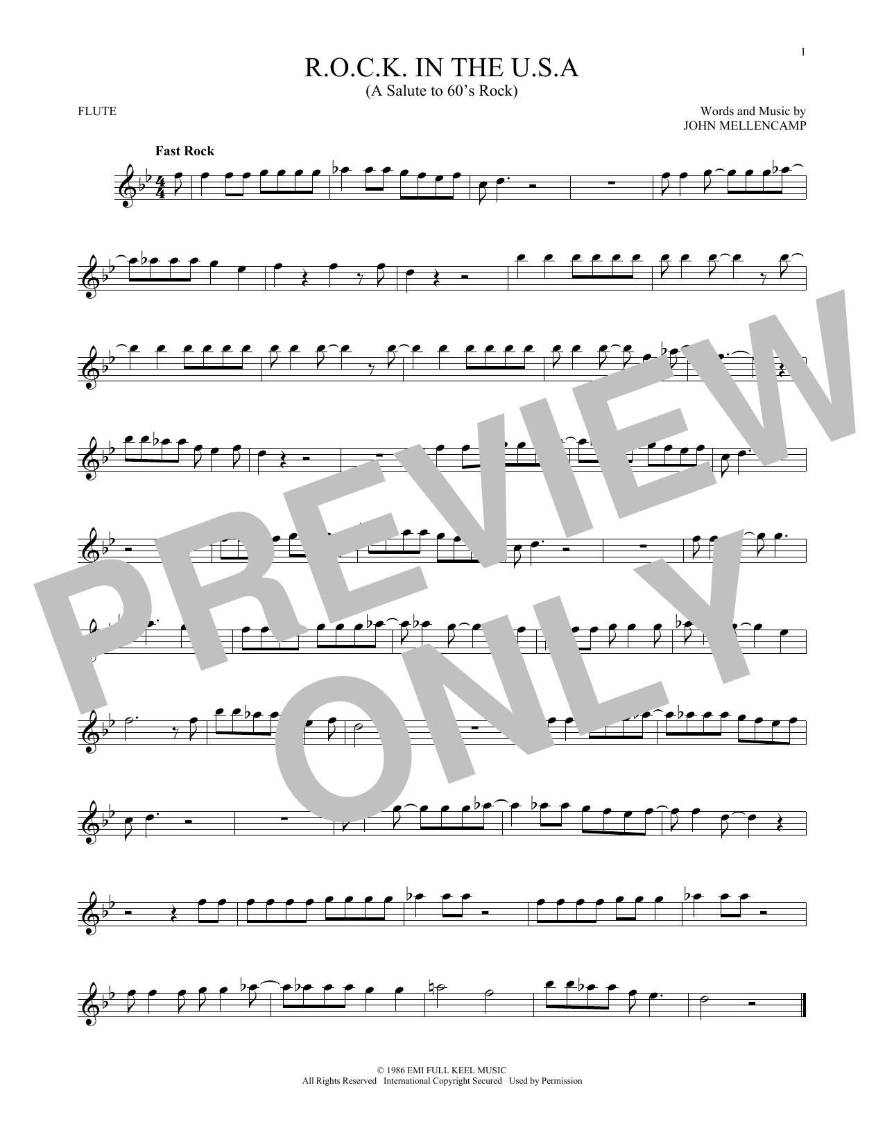 Partition flûte R.O.C.K. In The U.S.A. (A Salute To 60's Rock) de John Mellencamp - Autre