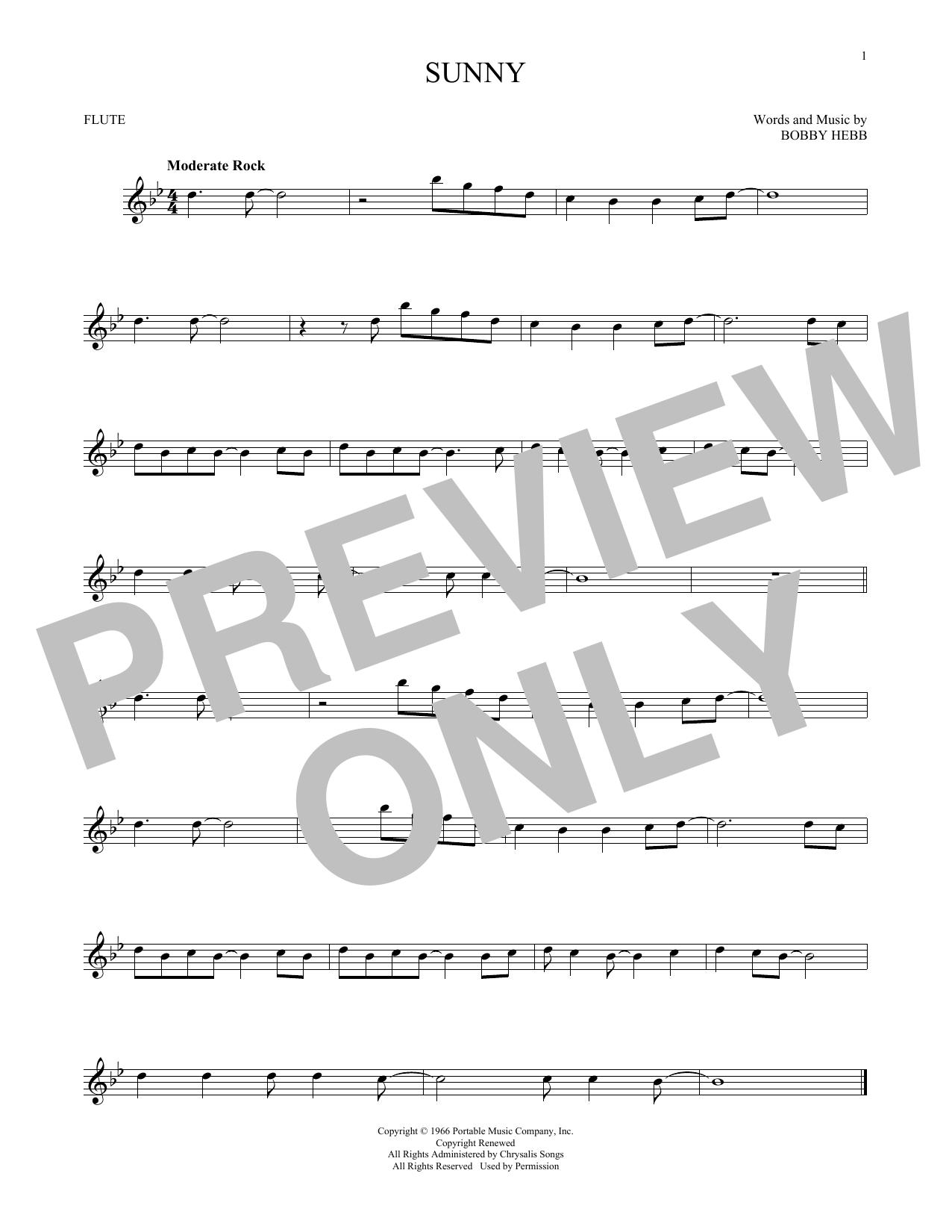 Partition flûte Sunny de Bobby Hebb - Flute traversiere