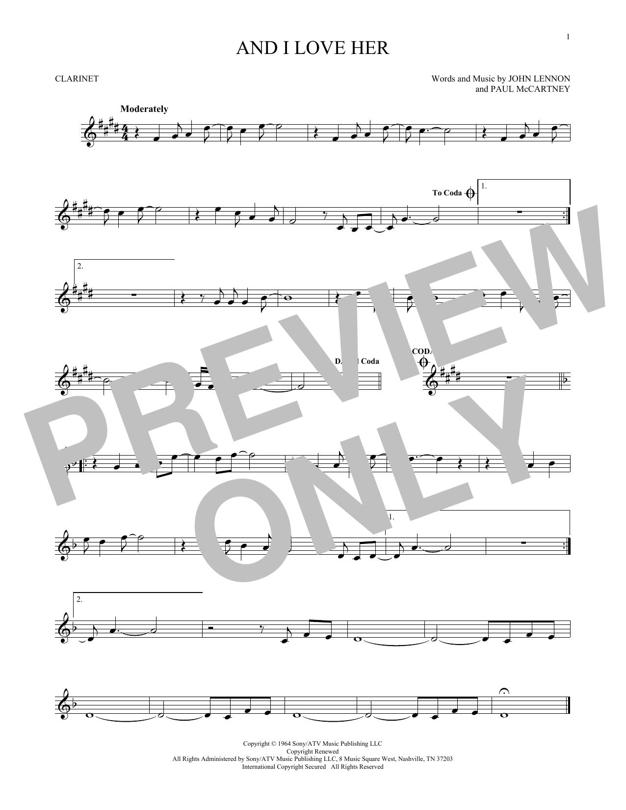 Partition clarinette And I Love Her de The Beatles - Autre