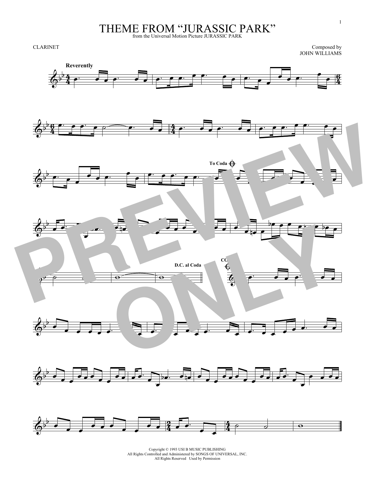 Theme From Jurassic Park (Clarinet Solo)