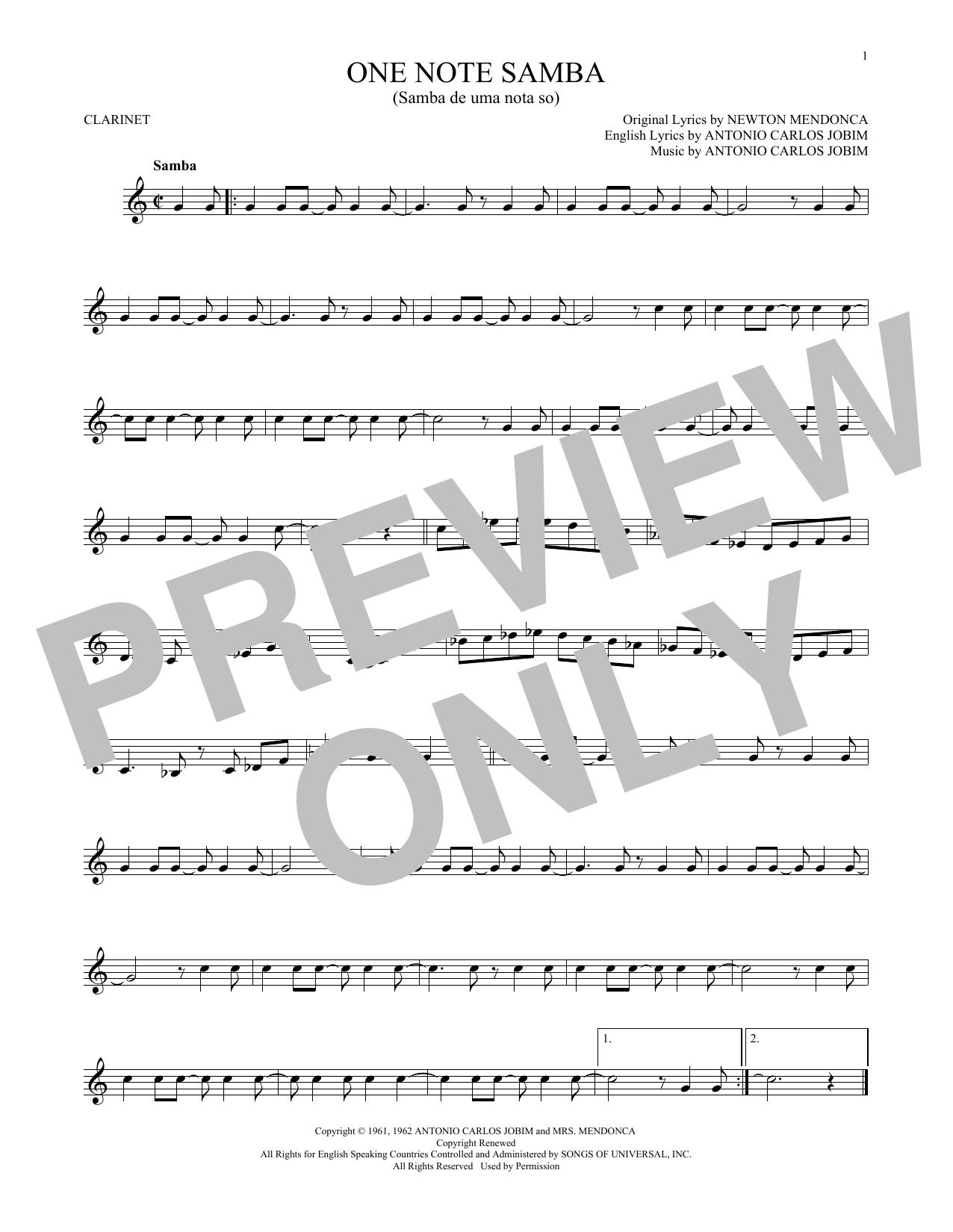 One Note Samba (Samba De Uma Nota So) (Clarinet Solo)