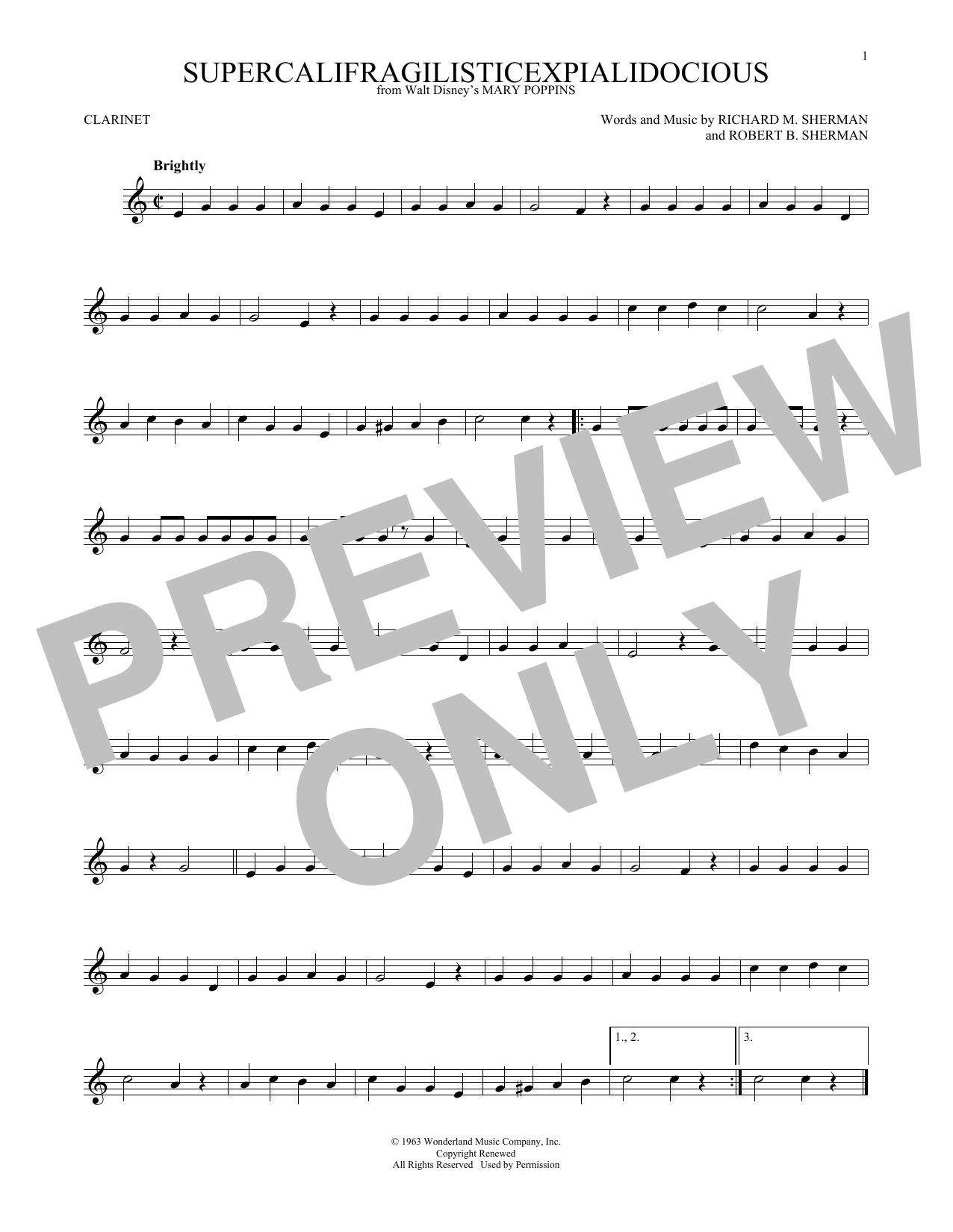 Supercalifragilisticexpialidocious (from Mary Poppins) (Clarinet Solo)
