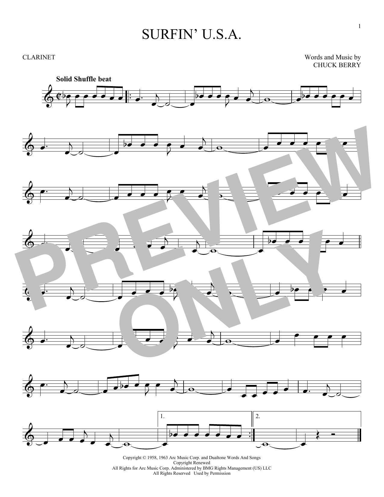 Partition clarinette Surfin' U.S.A. de The Beach Boys - Clarinette