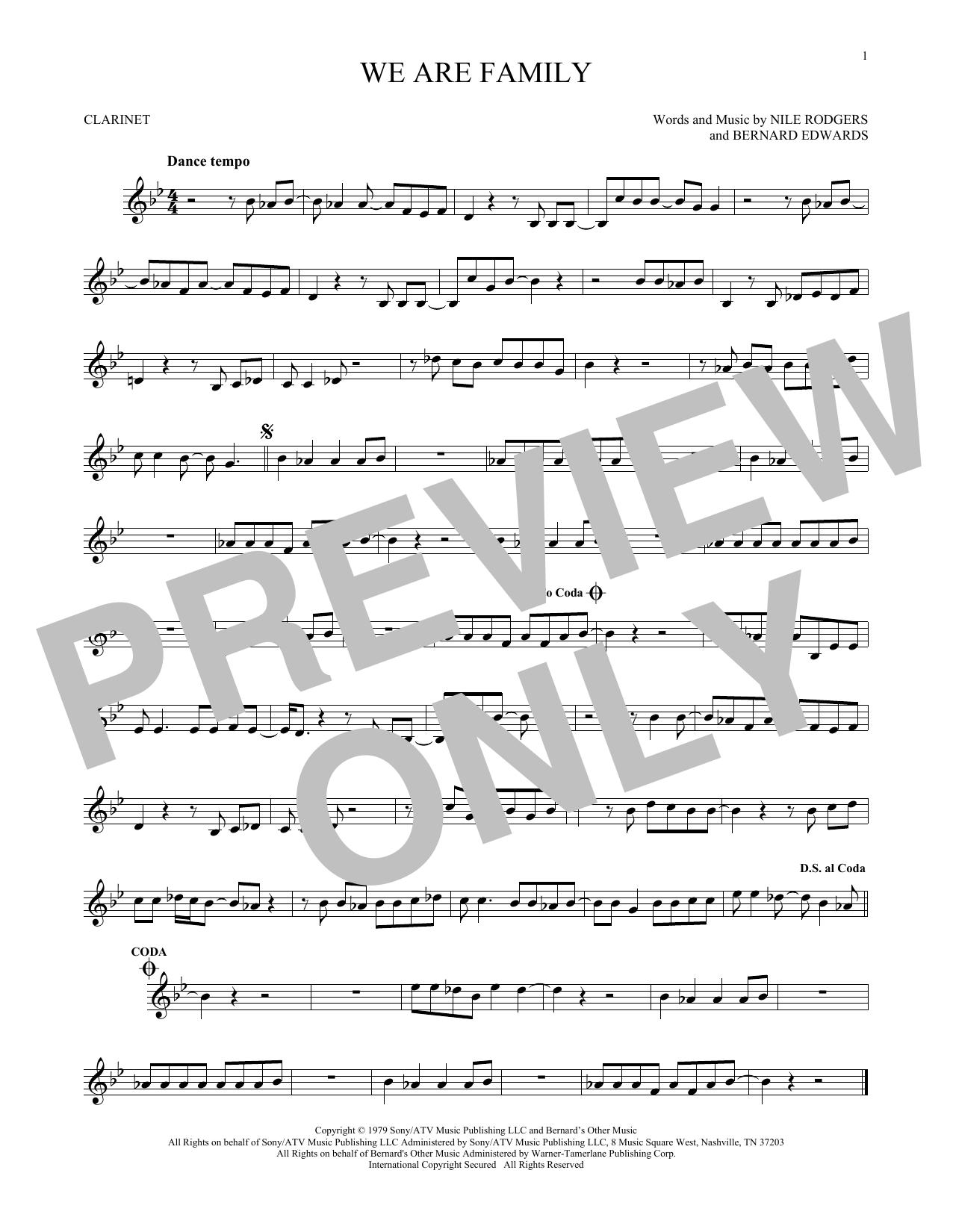 Partition clarinette We Are Family de Sister Sledge - Clarinette