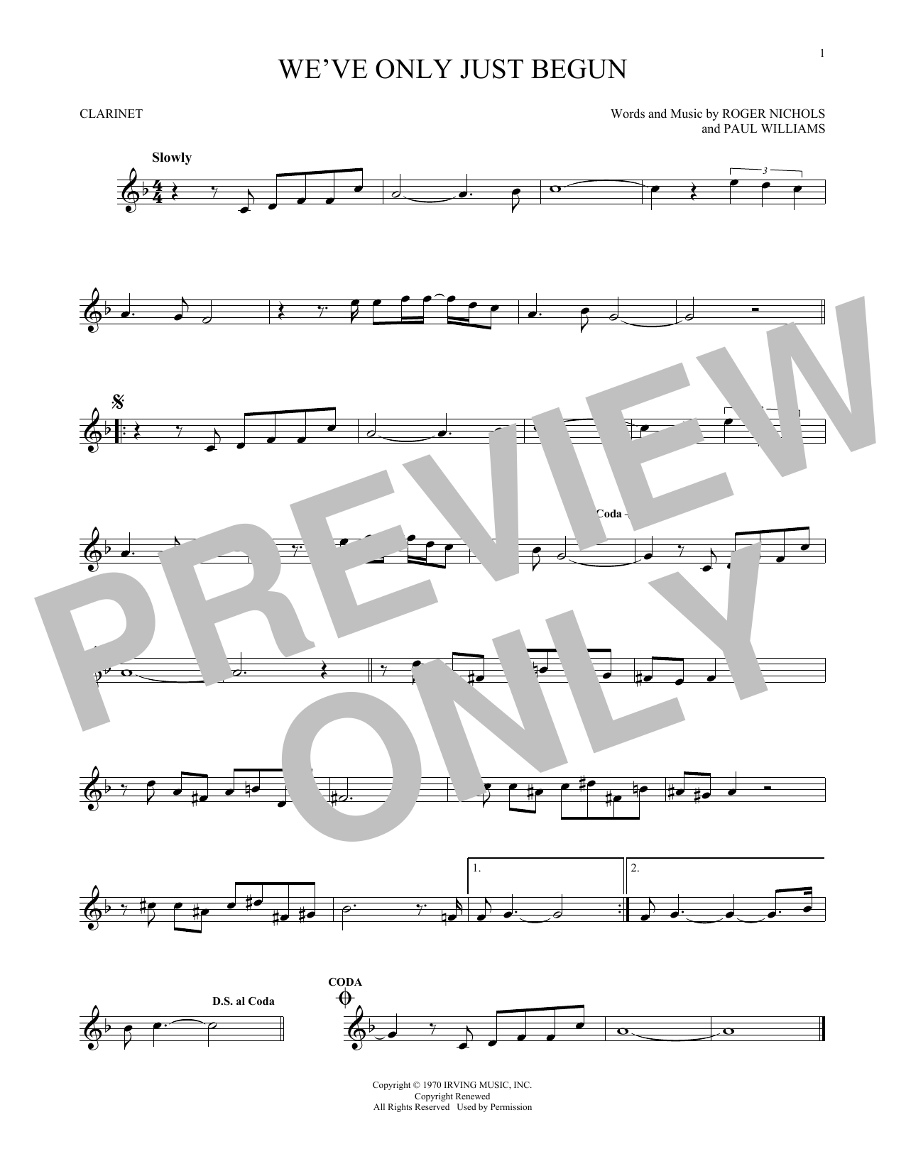 Partition clarinette We've Only Just Begun de The Carpenters - Clarinette
