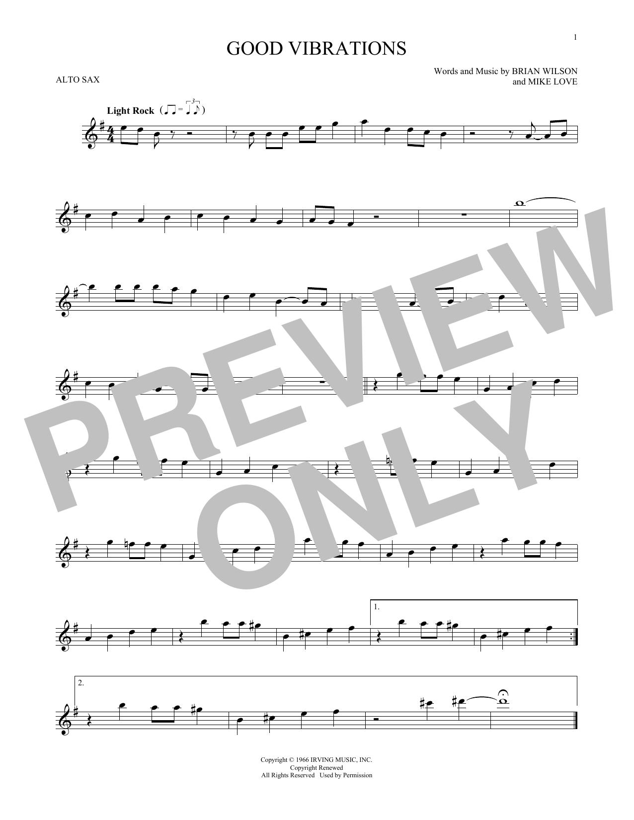 Partition saxophone Good Vibrations de The Beach Boys - Sax Alto
