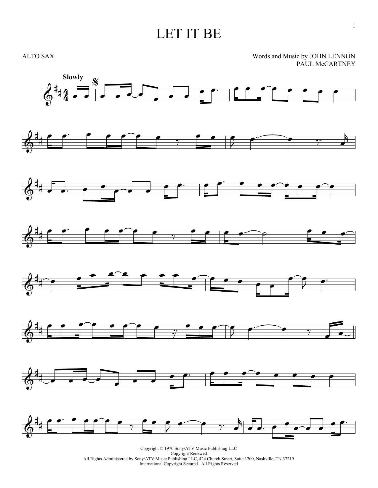 Let It Be (Alto Sax Solo)