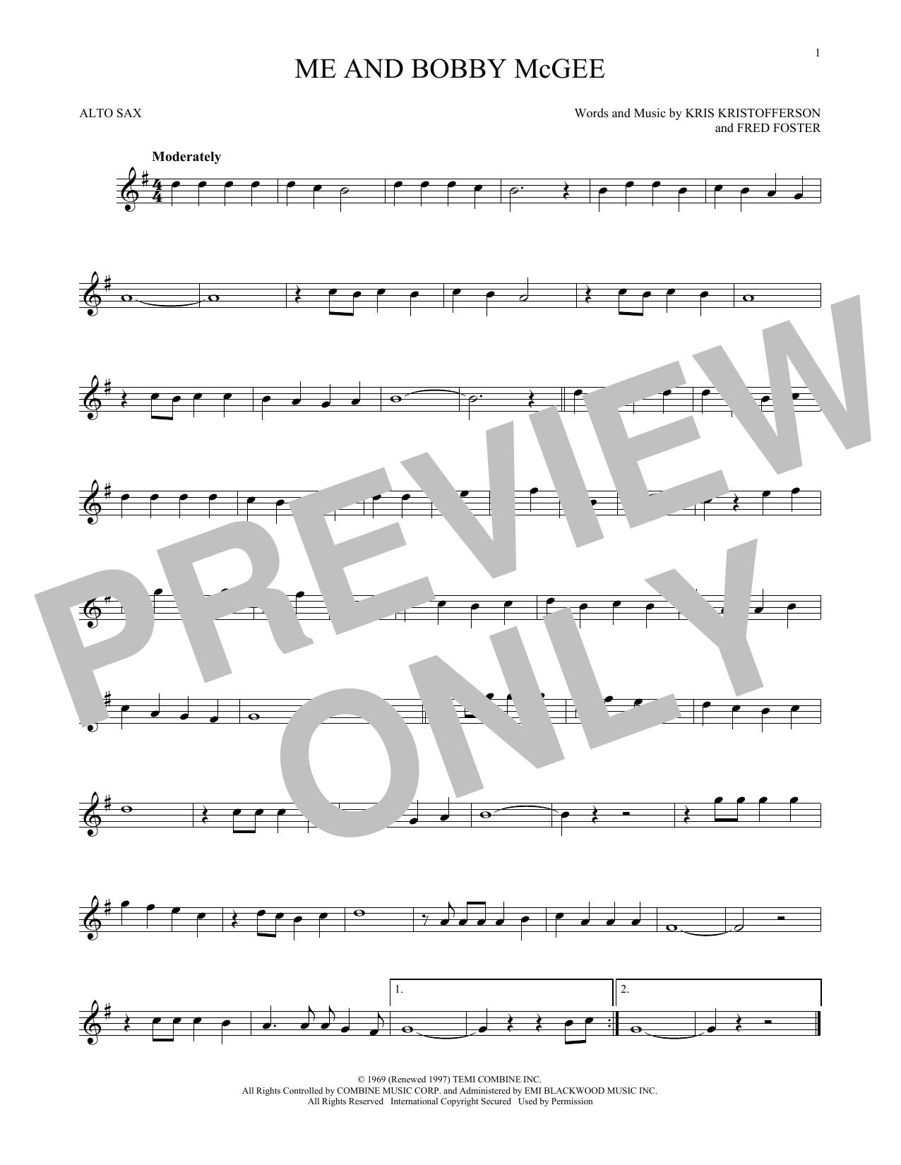 Partition saxophone Me And Bobby McGee de Kris Kristofferson - Sax Alto