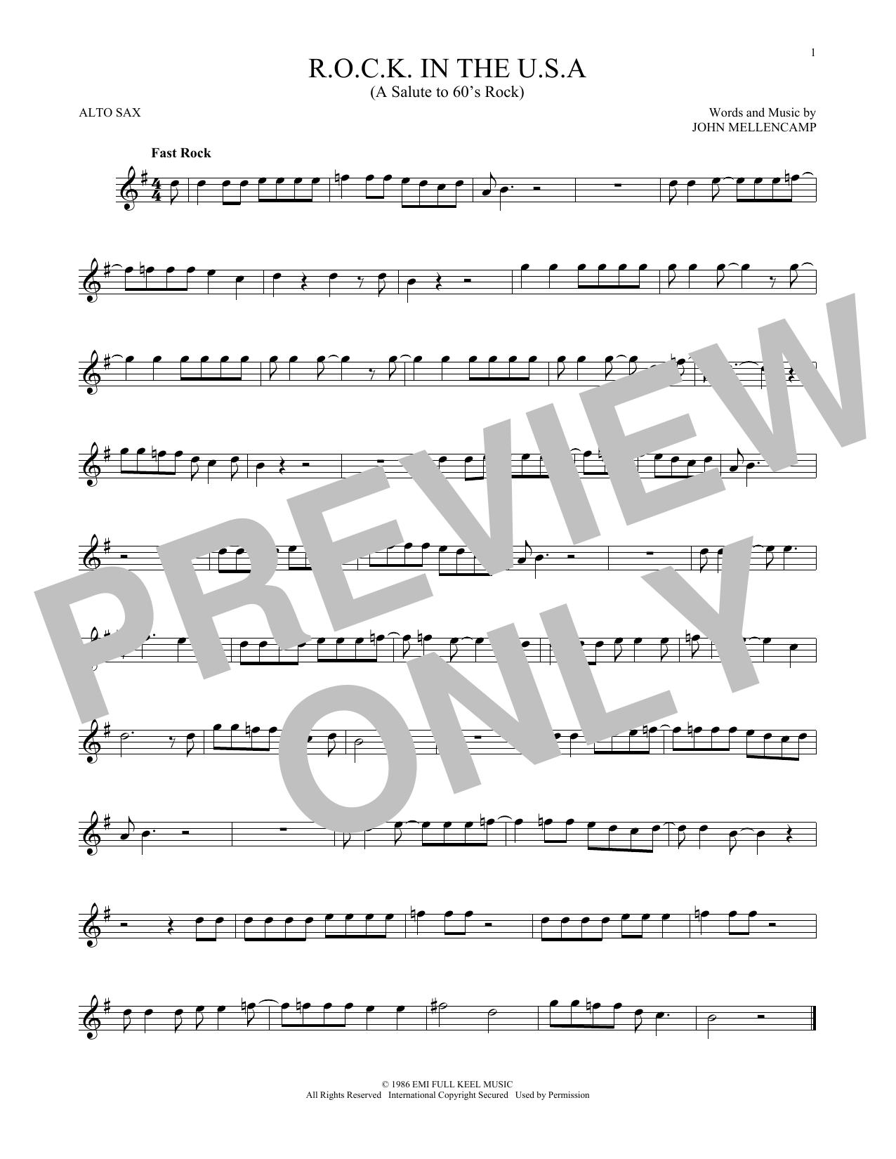 R.O.C.K. In The U.S.A. (A Salute To 60's Rock) (Alto Sax Solo)