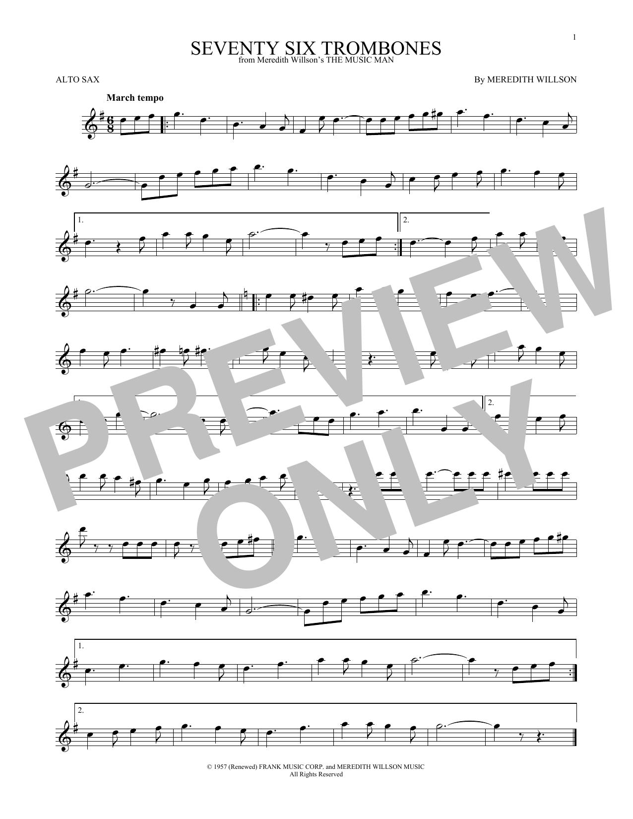 Seventy Six Trombones Sheet Music