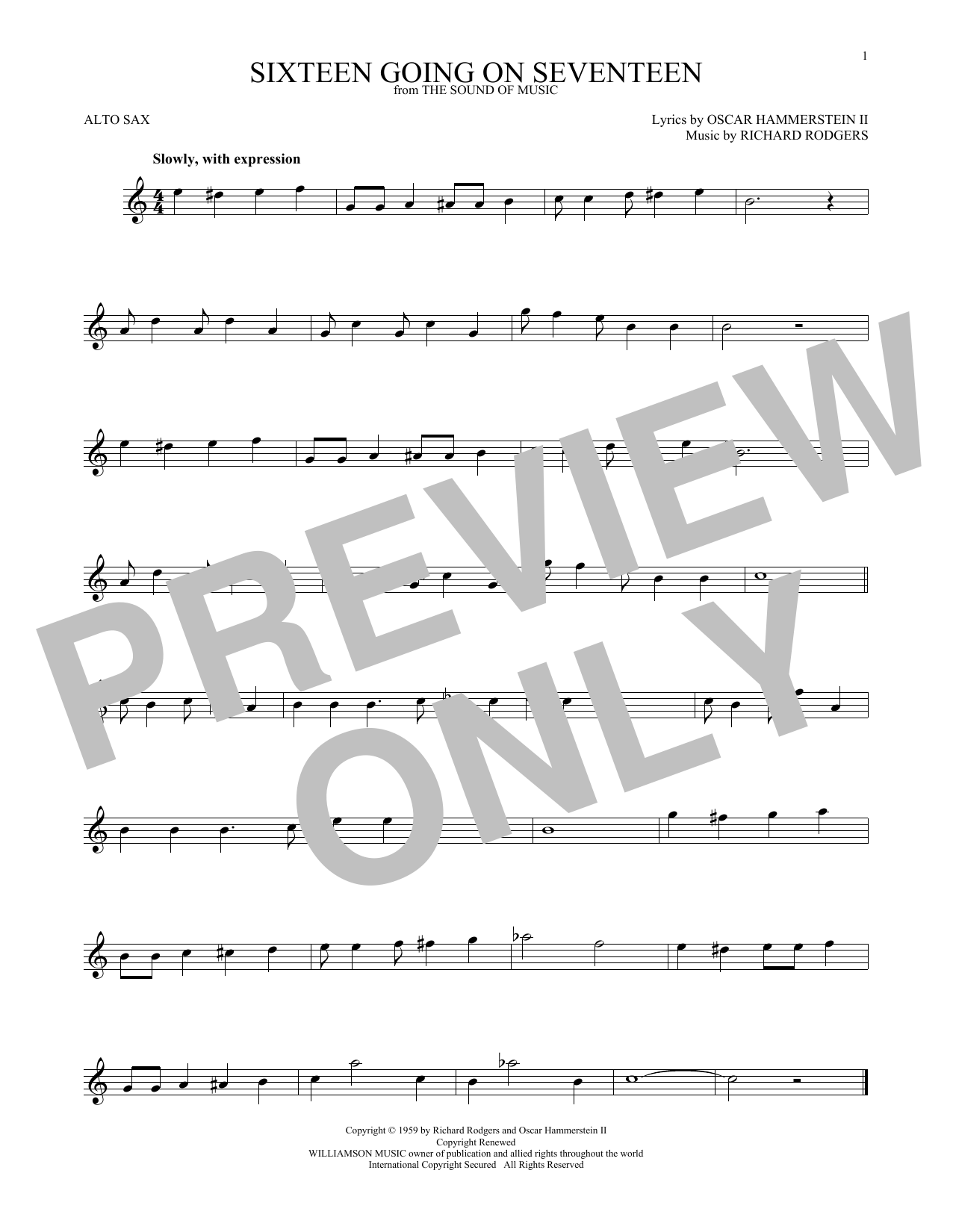 Partition saxophone Sixteen Going On Seventeen de Rodgers & Hammerstein - Sax Alto