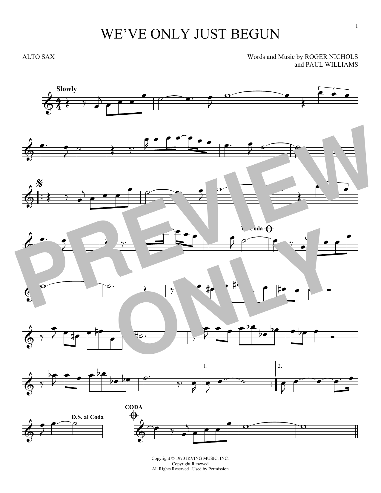 We've Only Just Begun Sheet Music